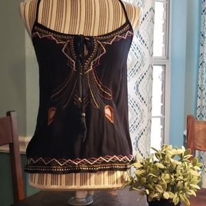 Black embroidered tank size M